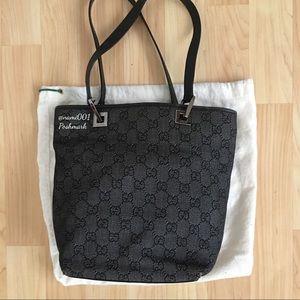 Gucci Monogram Canvas Bucket Bag Purse Dark Gray
